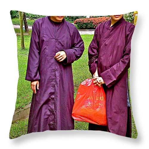 Maroon-robed Monks At Buddhist University In Chiang Mai Throw Pillow featuring the photograph Maroon-robed Monks At Buddhist University In Chiang Mai-thailand by Ruth Hager