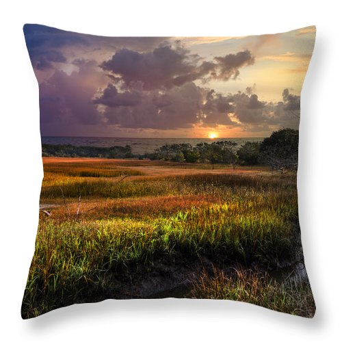 Clouds Throw Pillow featuring the photograph Marsh At Sunrise by Debra and Dave Vanderlaan