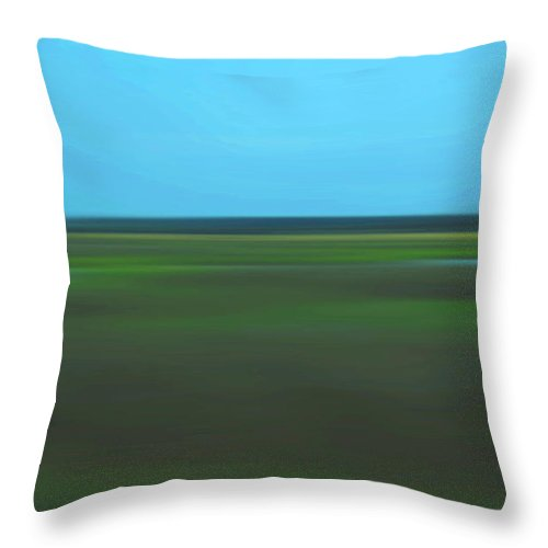 Abstract Throw Pillow featuring the photograph Marsh Blur by Suzanne Gaff