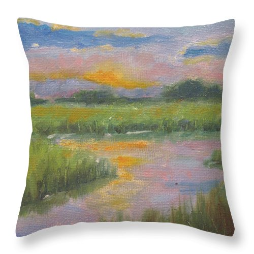 River Throw Pillow featuring the painting Marsh Light by Sarah Parks