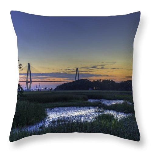 Arthur Ravenel Jr. Bridge Throw Pillow featuring the photograph Marsh To Bridge by Dale Powell