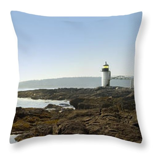 Marshall Point Lighthouse Throw Pillow featuring the photograph Marshall Point Lighthouse - Panoramic by Mike McGlothlen
