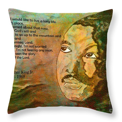 Mlk Throw Pillow featuring the painting Martin Luther King Jr - I Have Been To The Mountaintop by Ella Kaye Dickey