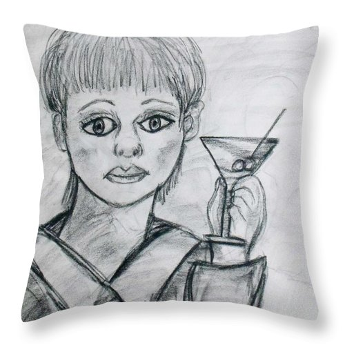 Woman Drinking Throw Pillow featuring the drawing Martini Girl by Catherine Ratliff