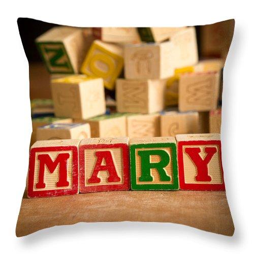 Abcs Throw Pillow featuring the photograph Mary - Alphabet Blocks by Edward Fielding