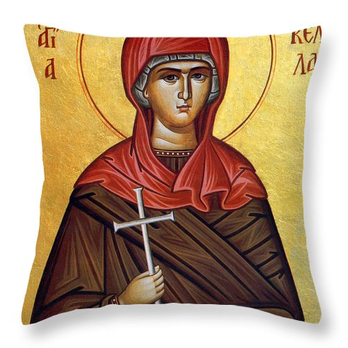 Orthodox Throw Pillow featuring the photograph Mary In Brown by Munir Alawi