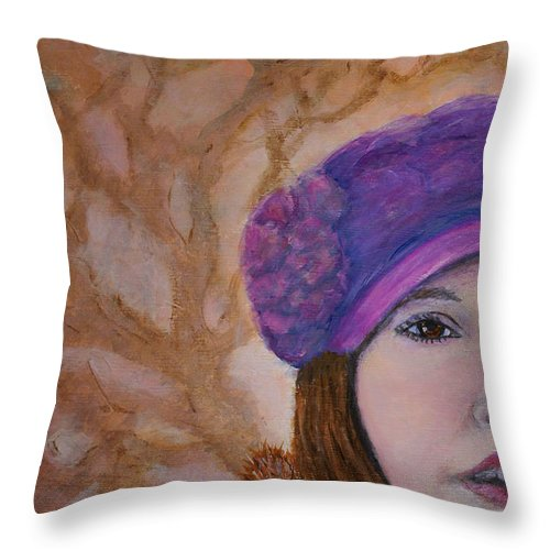 Lady In Hat Series Throw Pillow featuring the painting Mary Kathryn by The Art With A Heart By Charlotte Phillips