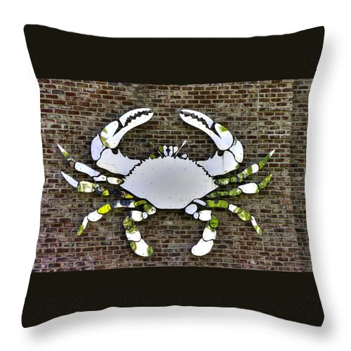Maryland Throw Pillow featuring the photograph Maryland Country Roads - Camo Crabby 1a by Michael Mazaika