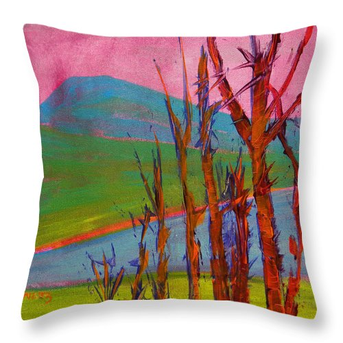 Landscape Throw Pillow featuring the painting Mary's Peak 9 by Pam Van Londen