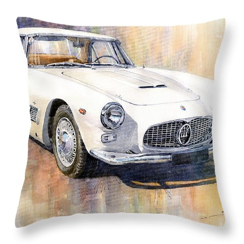 Automotive Throw Pillow featuring the painting Maserati 3500gt Coupe by Yuriy Shevchuk