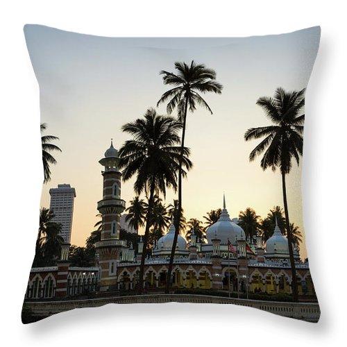 Clear Sky Throw Pillow featuring the photograph Masjid Jamek - Kuala Lumpur by @ Didier Marti