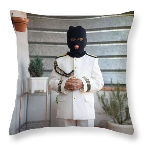 Religion Throw Pillow featuring the photograph Masked First Communion by Rafa Rivas