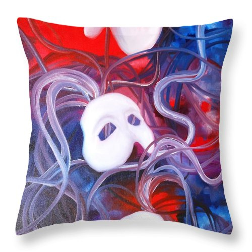Paintings By Lyle Throw Pillow featuring the painting Masks 4 by Lord Frederick Lyle Morris - Disabled Veteran