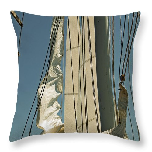 Schooner Throw Pillow featuring the photograph Mast Stepping by Jani Freimann