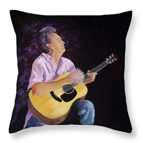 Music Throw Pillow featuring the painting Master In The Spotlight by Margaret Bobb