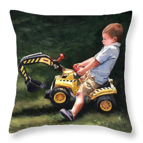 Little Boy On Toy Backhoe Painting Throw Pillow featuring the painting Mastering The Backhoe by Terri Meyer