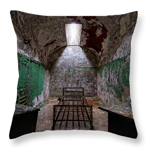 Eastern State Penitentiary Throw Pillow featuring the photograph Matching End Tables by Michael Dorn