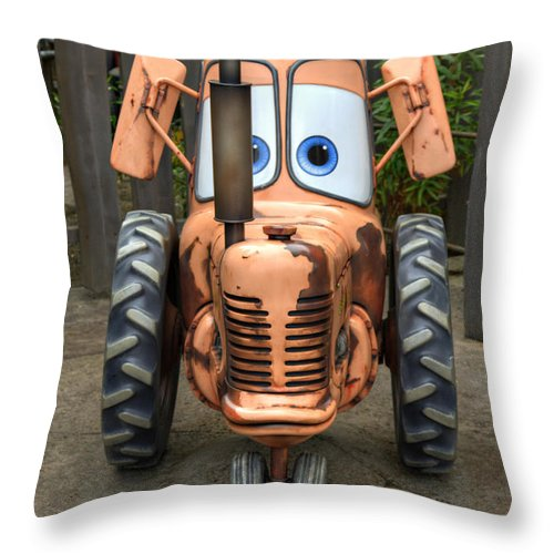 Tractor Throw Pillow featuring the photograph Mater's Tractor by Ricky Barnard