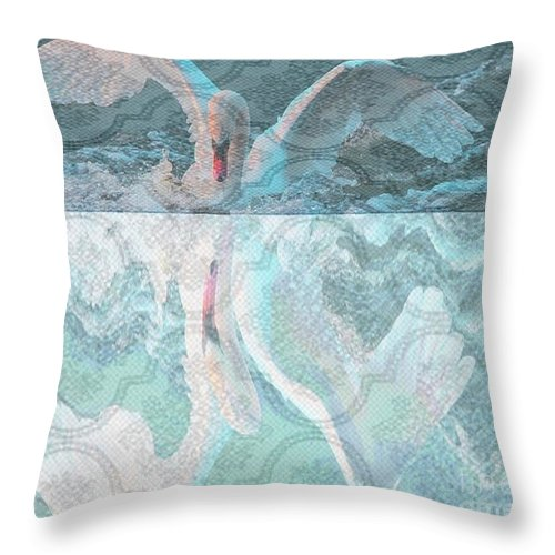 Swan Art Throw Pillow featuring the painting Mating Dance Of The Swan by PainterArtist FIN
