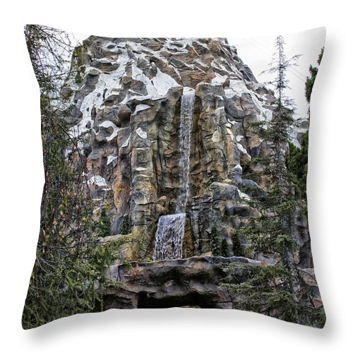 Disney Throw Pillow featuring the photograph Matterhorn Mountain With Bobsleds At Disneyland by Thomas Woolworth