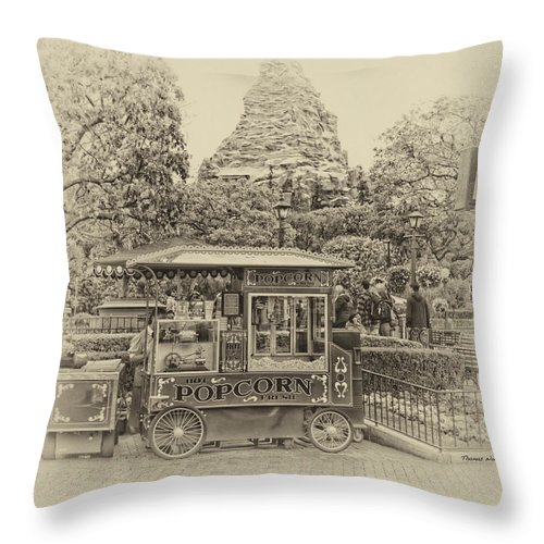 Disney Throw Pillow featuring the photograph Matterhorn Mountain With Hot Popcorn At Disneyland Heirloom by Thomas Woolworth