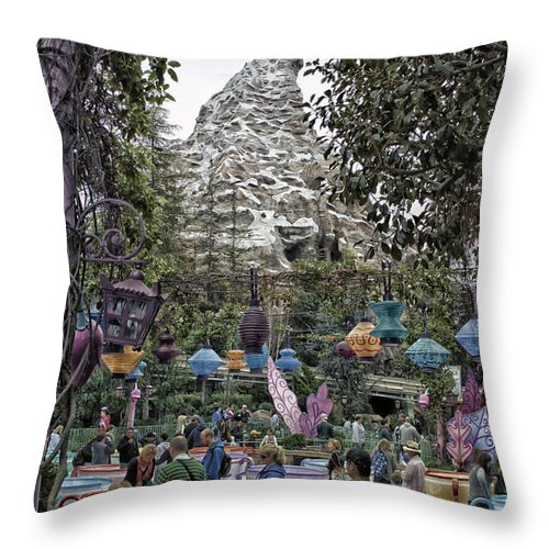 Disney Throw Pillow featuring the photograph Matterhorn Mountain With Tea Cups At Disneyland by Thomas Woolworth
