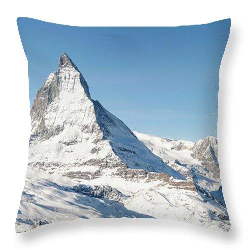 Scenics Throw Pillow featuring the photograph Matterhorn Panorama by Georgeclerk