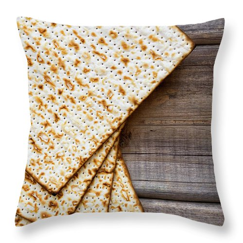 Celebration Throw Pillow featuring the photograph Matza Background by Vlad Fishman