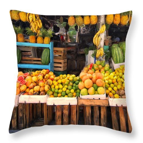 Upcountry Throw Pillow featuring the painting Maui Fruits And Vegetables by Dominic Piperata