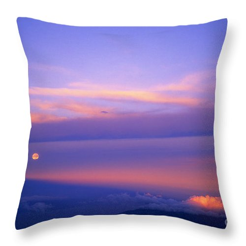 Sunrise Throw Pillow featuring the photograph Maui Full Moonset At Sunrise II by Jim Cazel