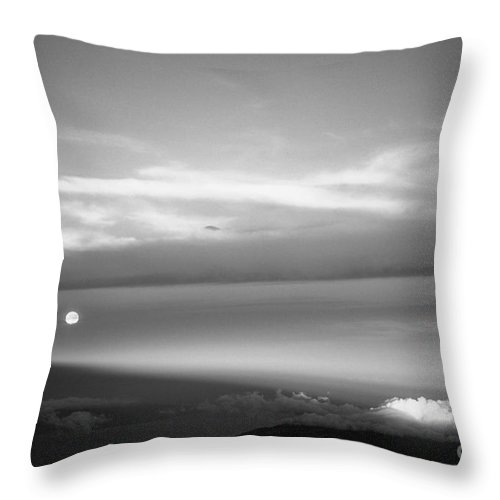 B&w Throw Pillow featuring the photograph Maui Full Moonset At Sunrise by Jim Cazel