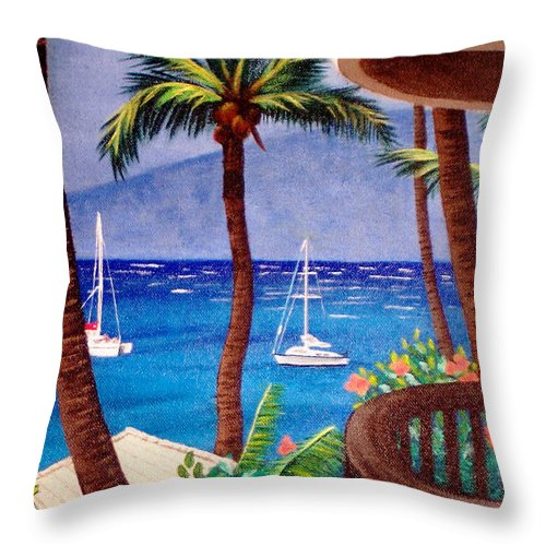 Hawaii Throw Pillow featuring the painting Maui by Liz Boston