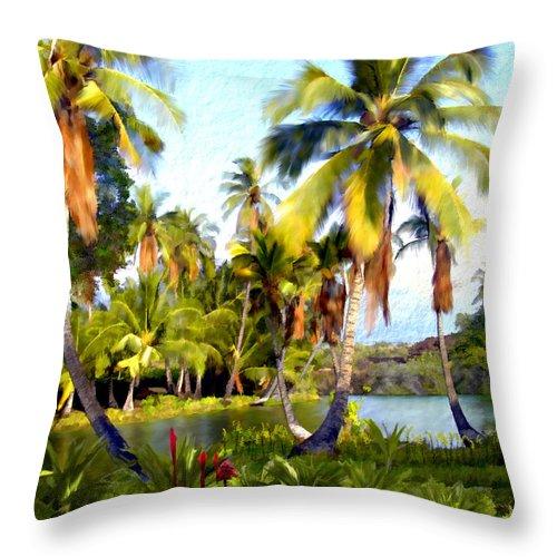 Hawaii Throw Pillow featuring the photograph Mauna Lani Fish Ponds by Kurt Van Wagner