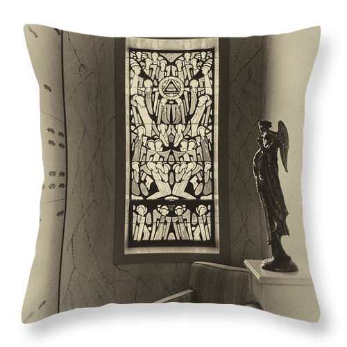 Glass Art Throw Pillow featuring the photograph Mausoleum Stained Glass 02 by Thomas Woolworth