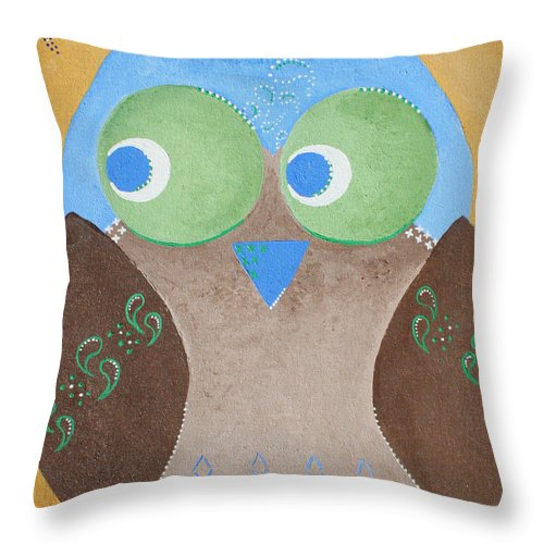 Owls Throw Pillow featuring the painting Maverick The Owl by Wendy May