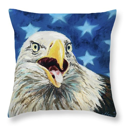 Bald Eagle Throw Pillow featuring the painting Maxwell by Mary Benke