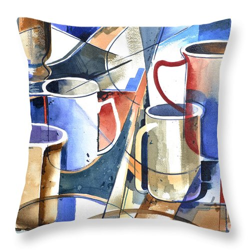 Abstract Watercolor Painting Of Different Sized And Shaped Coffee Mugs. Throw Pillow featuring the painting Maxwell's House by Rick Mock