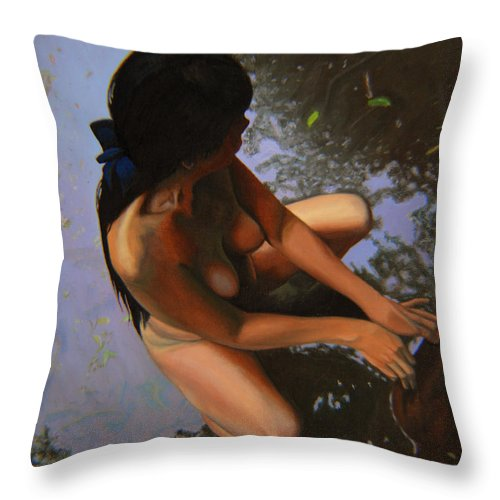 Figure Throw Pillow featuring the painting May Morning Arkansas River by Thu Nguyen
