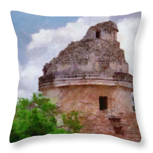 Yucatan Throw Pillow featuring the painting Mayan Observatory by Jeffrey Kolker