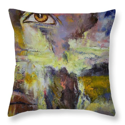 Mayan Throw Pillow featuring the painting Mayan Prophecy by Michael Creese