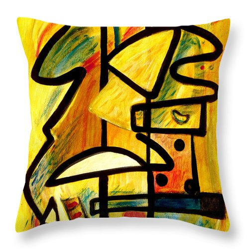 Abstract Art Throw Pillow featuring the painting Mayan by Stephen Lucas