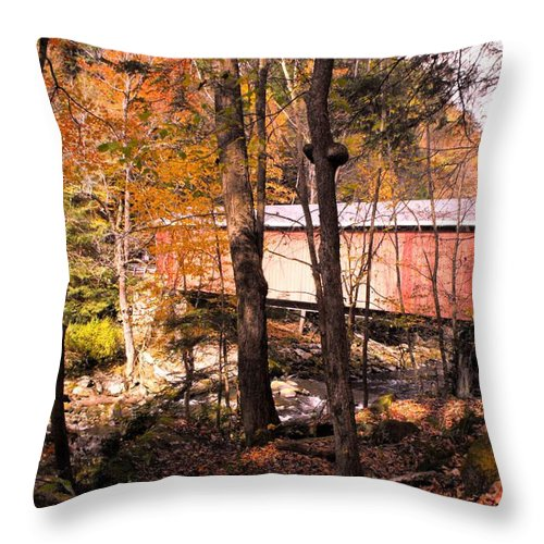 Bridge Throw Pillow featuring the photograph Mcconnell's Mill Bridge Two by Spencer McKain