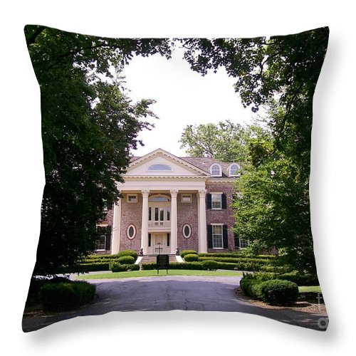 Robert R. Mccormick Museum Throw Pillow featuring the photograph Mccormick Mansion From The Drive by Laurie Eve Loftin