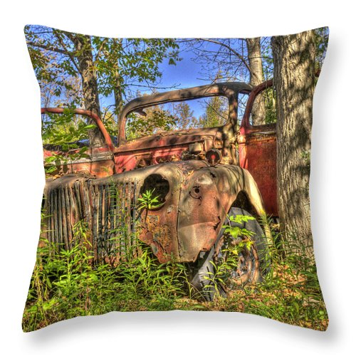 Mclean Auto Wrecker Throw Pillow featuring the photograph Mcleans Auto Wrecker - 1 by Paul Cannon