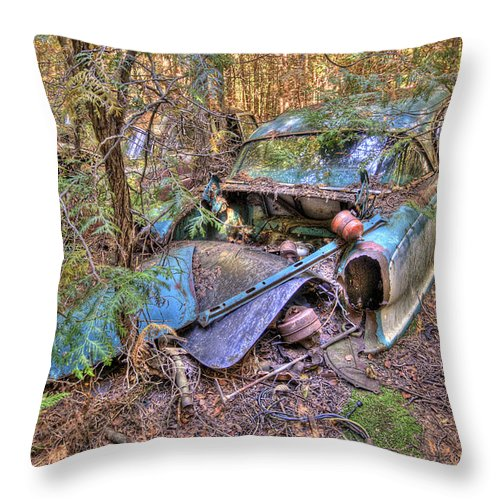 Mclean Auto Wrecker Throw Pillow featuring the photograph Mcleans Auto Wrecker - 10 by Paul Cannon