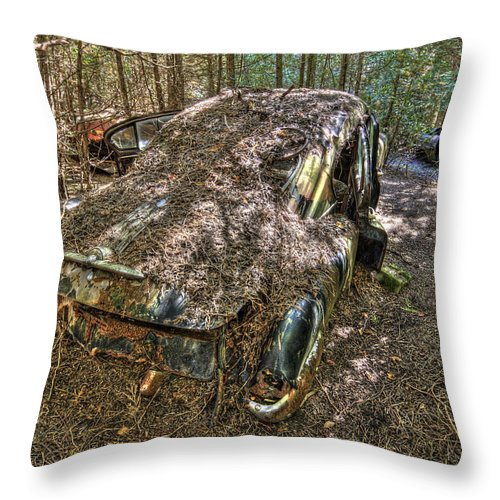 Mclean Auto Wrecker Throw Pillow featuring the photograph Mcleans Auto Wrecker - 12 by Paul Cannon