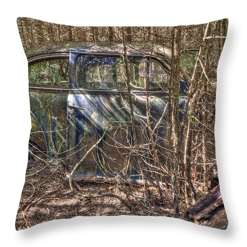 Mclean Auto Wrecker Throw Pillow featuring the photograph Mcleans Auto Wrecker -13 by Paul Cannon