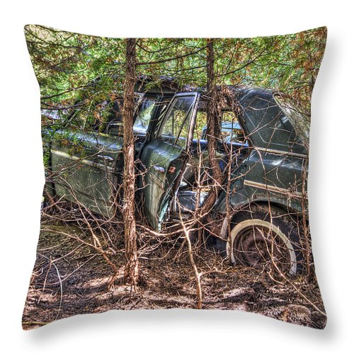 Mclean Auto Wrecker Throw Pillow featuring the photograph Mcleans Auto Wrecker - 14 by Paul Cannon