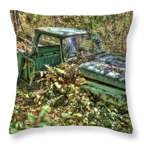 Mclean Auto Wrecker Throw Pillow featuring the photograph Mcleans Auto Wrecker - 5 by Paul Cannon