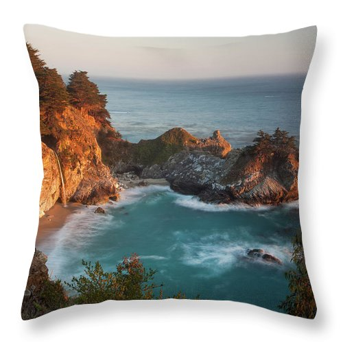 Scenics Throw Pillow featuring the photograph Mcway Falls At Sunset by Sean Duan